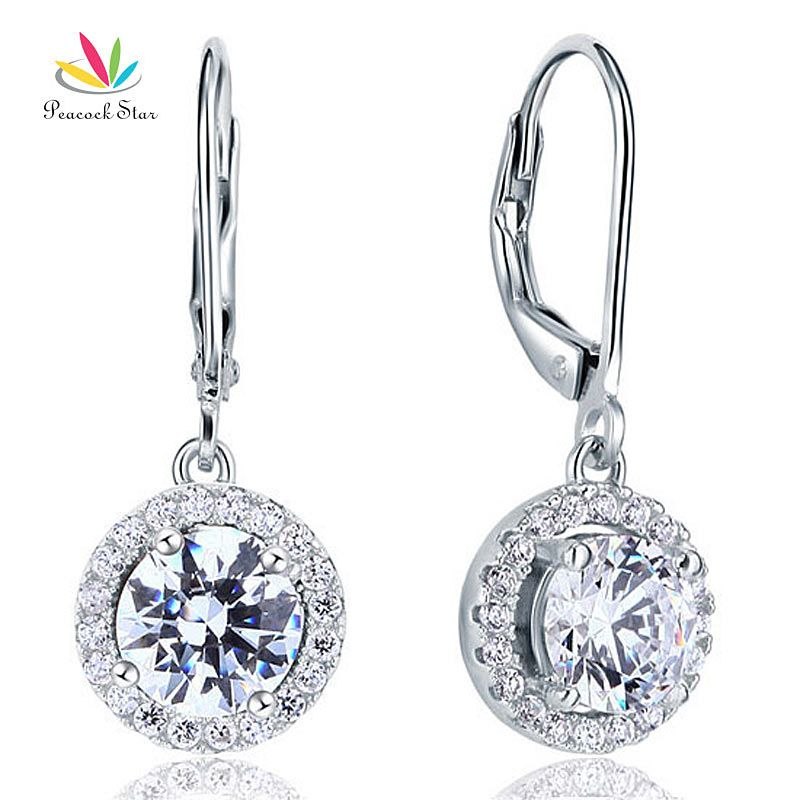 Peacock Star 2 Carat Round Cut Dangle Drop Solid Sterling 925 Silver Bridal Wedding Earrings Jewelry CFE8073