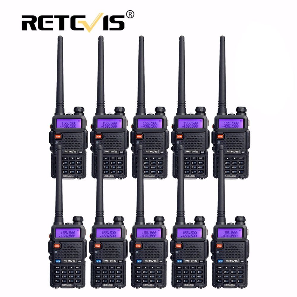 10pcs Retevis Walkie Talkie RT5R VHF UHF Radio Station 128CH VOX FM Frequency Portable cb Radio Set Hf Transceiver Walkie-Talkie