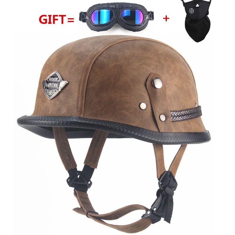 Livraison gratuite allemand WWII Style visage ouvert demi casque en cuir Moto vintage Moto Moto camouflage