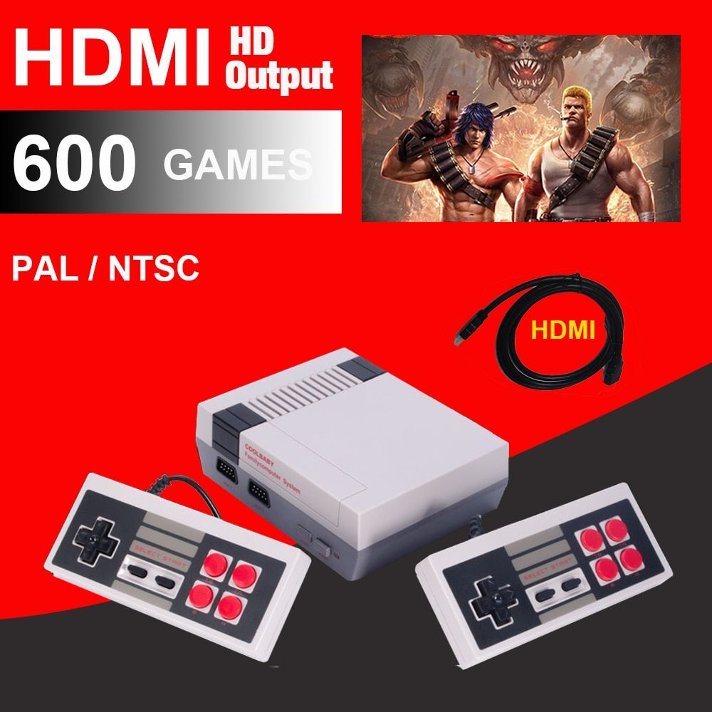 HDMI HD Retro Classic handheld game player family mini TV <font><b>video</b></font> game console Built-in 500/ 600 Games with 4/2 button controllers