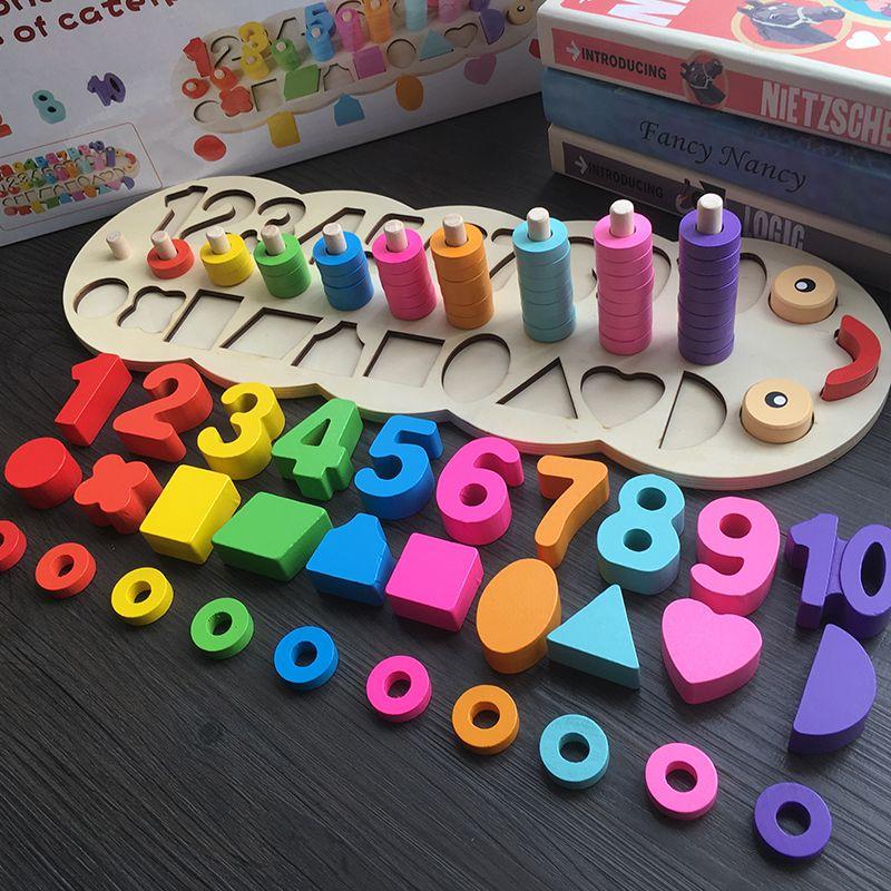 Enfants En Bois Montessori Matériaux Apprendre À Compter Les Nombres Correspondant Numérique Forme Rencontre Au Début L'éducation L'enseignement des Mathématiques Jouets