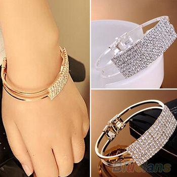 New Elegant Women Bangle Wristband Crystal Bracelet  Cuff Bling Lady Gift Bracelets & Bangles 063Y
