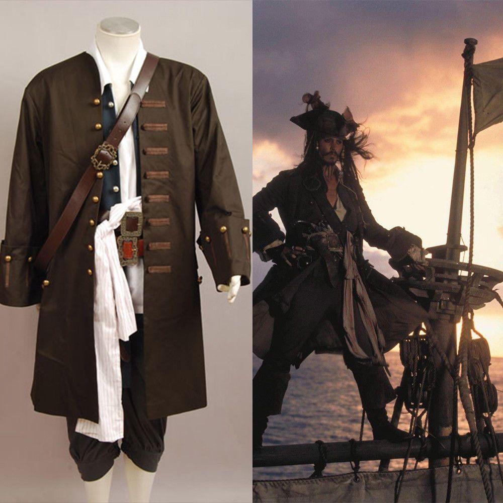 Fluch Der Karibik Jack Sparrow Cosplay Kostüm Jacke Weste Gürtel Hemd Hosen Kostüm Full Set
