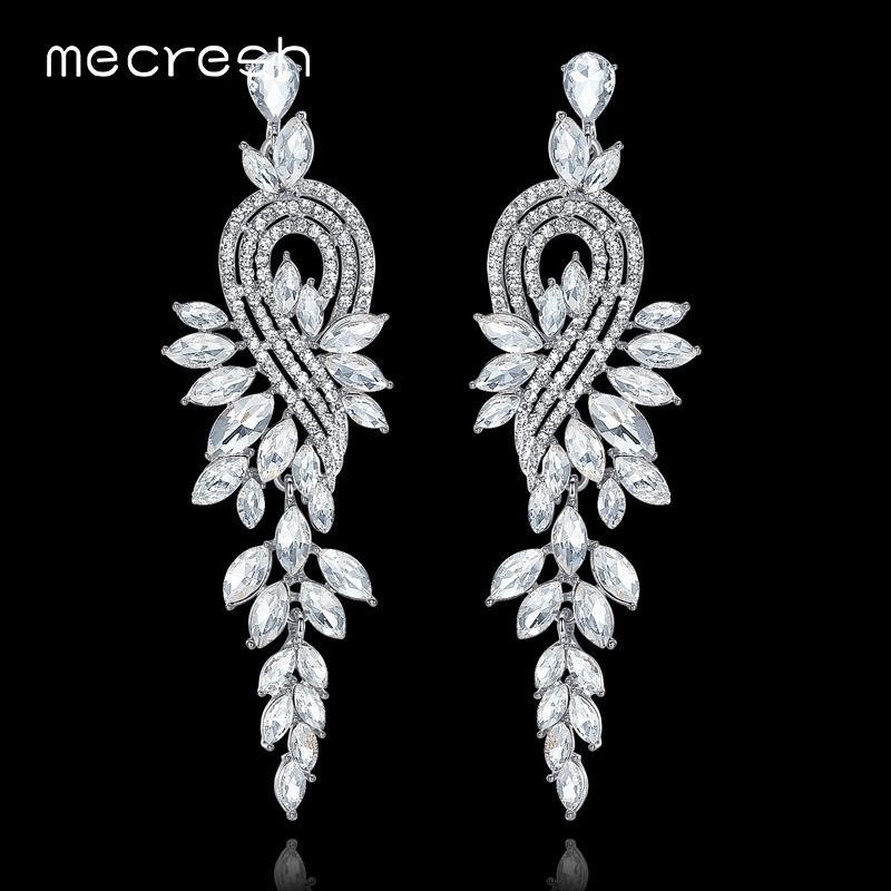 Mecresh European Leaves Long Drop Earrings for Women Silver Color Crystal Hanging Earrings Wedding Engagement Jewelry MEH946