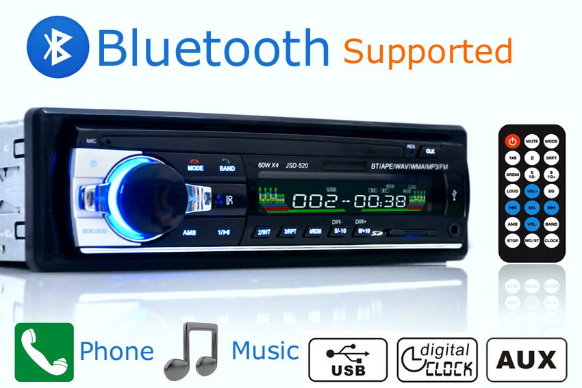 New Car Radio Stereo Player Bluetooth AUX-IN MP3 FM/USB/1 Din/remote Control For Iphone 12V Car Audio Auto Support Smartphone