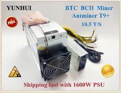 Kapal Gratis Digunakan Antminer T9 + 10.5 T Bitcoin Miner dengan PSU ASIC Penambang Terbaru 16nm BCC BCH Penambang Bitcoin mesin Pertambangan