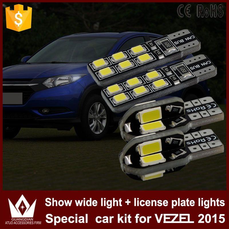 Night Lord 4pcs High Power Error free T10 W5W Car Clearance Width Lights License Plate Light LED for Honda VEZEL 2015