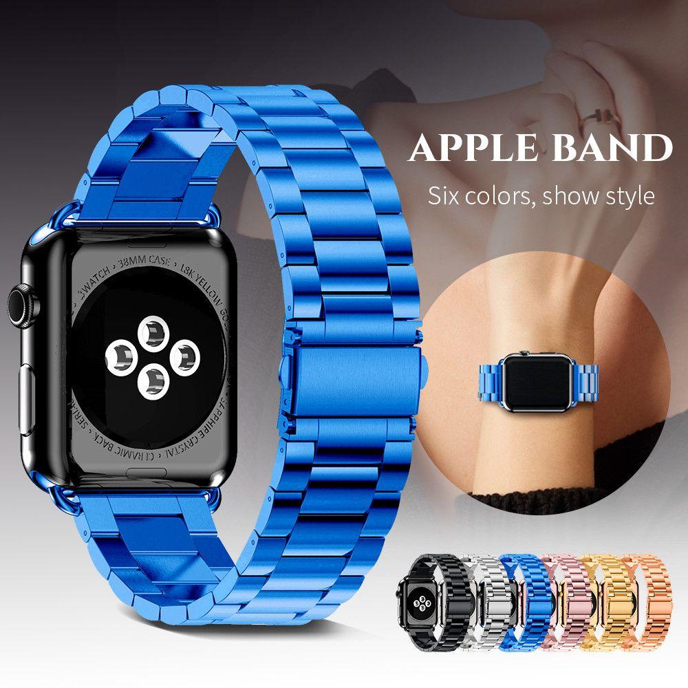 Bracelet En Acier inoxydable pour Apple Montre Bande 38mm 42mm Bracelet En Métal Trois Liens Bracelet pour Apple Montre série 1 2 3 4