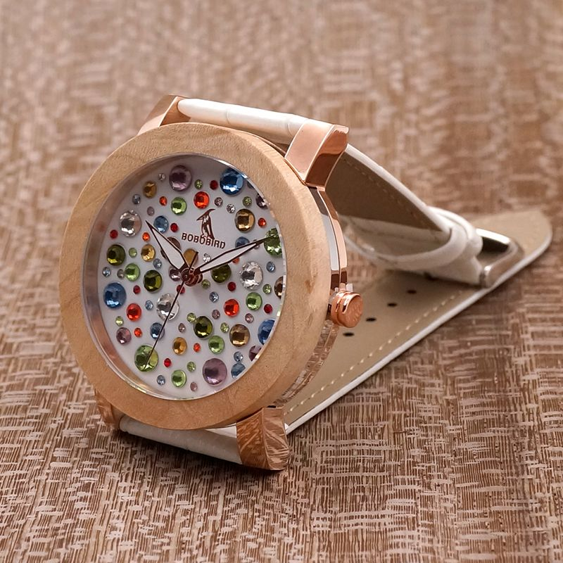 BOBO BIRD L-J05 Manufacture in China Watch Women Timepieces Maple Ring Colored Diamonds Drop Shipping Female Saat Private Label