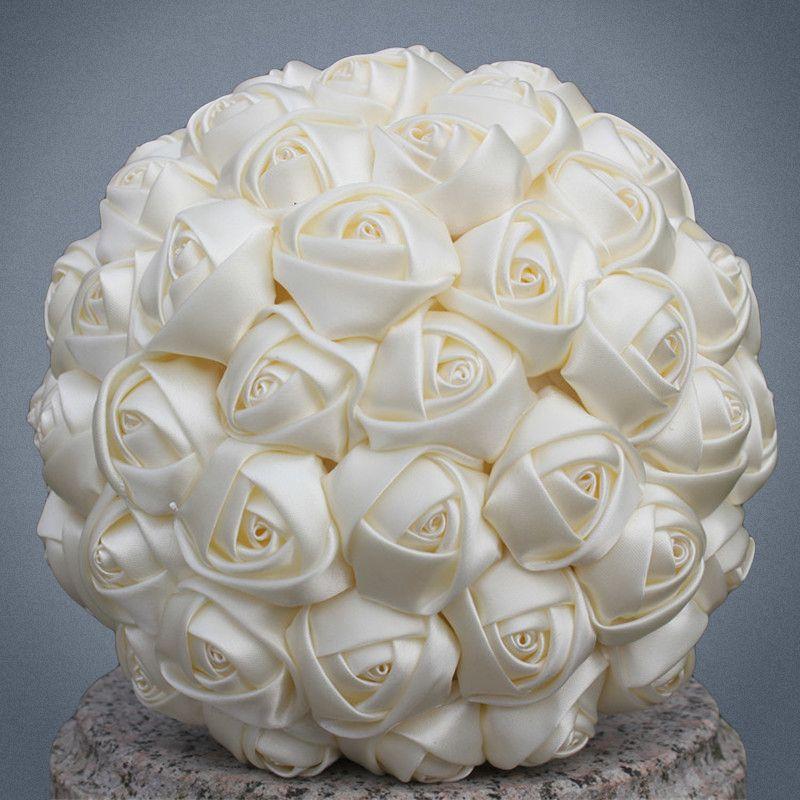 Pas cher Marfim ivoire soie mariée Bouquet fleur fille/demoiselle d'honneur/mariée Satin tenant la fleur pour mariage, Festival, fête W223-5