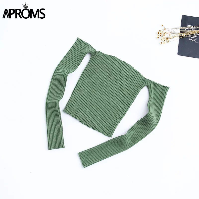 Aproms Bonbons Couleur Encolure Tricoté Top T-shirts Femmes 2019 Bustier Crop Top Summer Party Blanc Tops Femme Cami