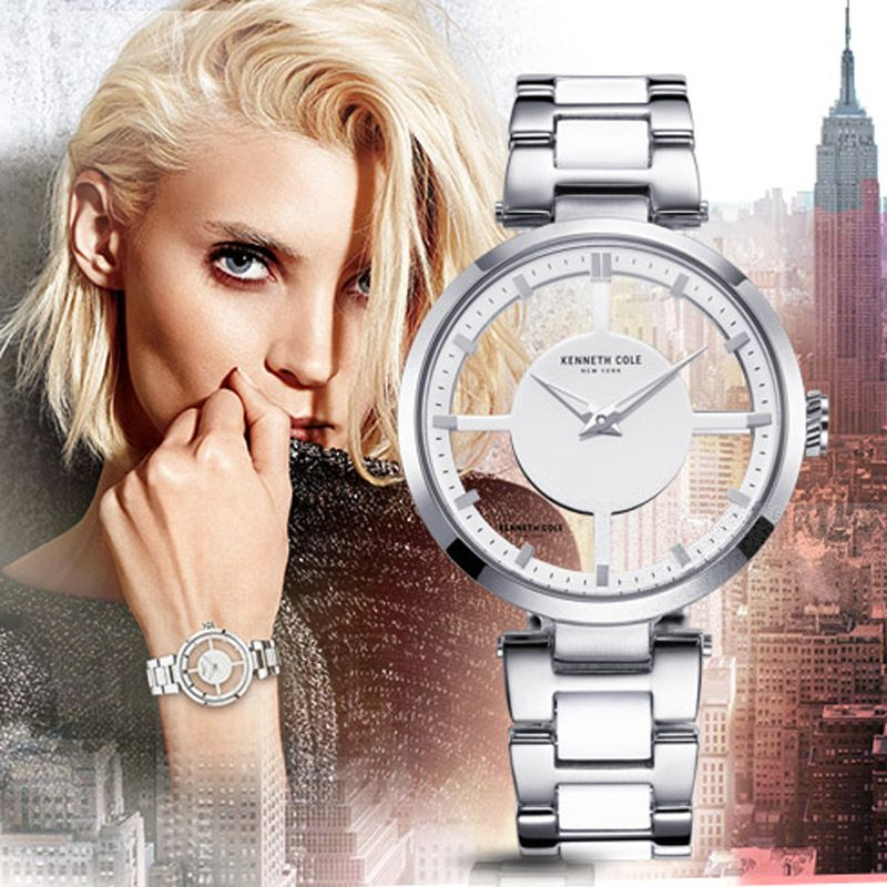 Kenneth Cole Womens Watches KC4827 See-through Quartz Silver Stainless Steel Water Resistant Women Watches