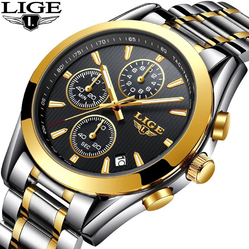 LIGE New Men Watches Sports Waterproof Automatic Date Top Brand Watch Men Business Full Steel Quartz Watch Relogio Masculino+BOX