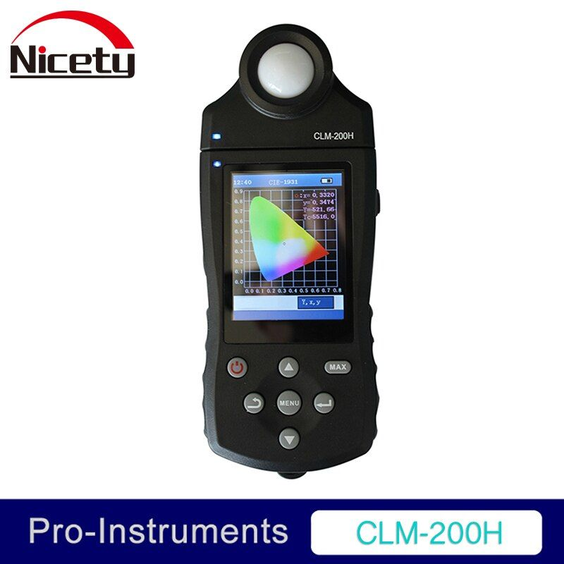 CLM-200H Color Temperature Illuminance Purity Luminous Flux RGB Dominant Wavelength white LED ELED Chroma Meter Nicety