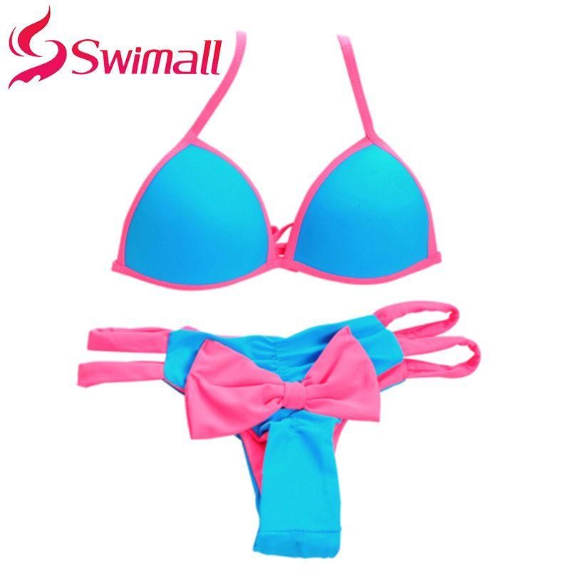 Femmes chaudes Push Up Sexy brésilien Bikini ensemble taille basse maillots de bain licou maillot de bain à l'arrière nœud bas Triangle maillot de bain SJ15181