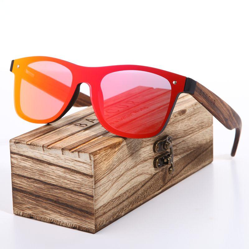 BARCUR 2018 Zèbre En Bois Marque Vintage Style lunettes de Soleil Hommes Plat Lentille Sans Monture Carré Cadre Femmes Lunettes de Soleil Oculos Gafas