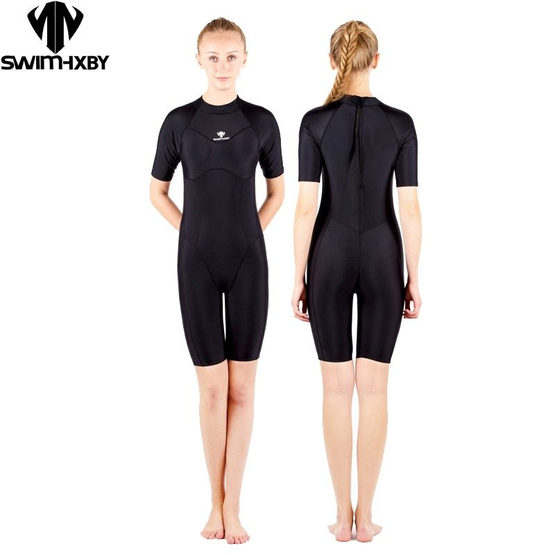 HXBY Womens Plus Size One Piece Swimsuit  Solid Swimwear Competitive Swimming Suit for  women Bathing Suits kneeskin Swimsuits