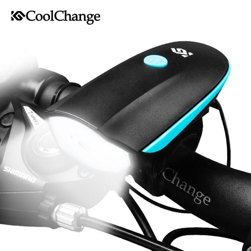 CoolChange Vélo Cloche USB De Charge Vélo Corne Lumière Phare Vélo Multifonction Ultra Lumineux Électrique 140 db Corne Cloche De Vélo