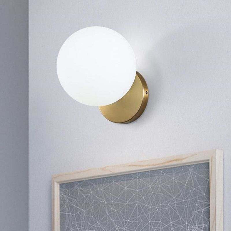 Abajur Nordic Modern Iron Art E14 LED Wall Lamp for Living Room Bedroom Glass Lampshade Round Ball Home Deco Wall Light Fixtures