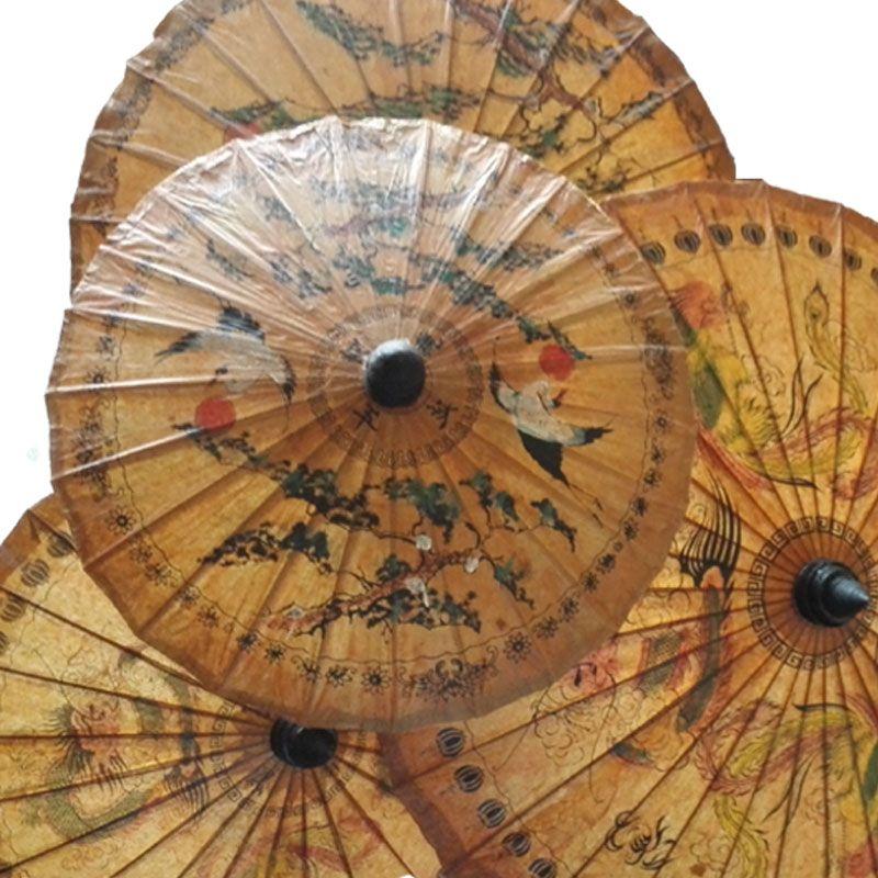 Thaïlande Main Huilé Parapluie de Papier Antique Classique Appel Durable Soleil Parapluie Exquis Impression De Danse Décoratif Parapluie