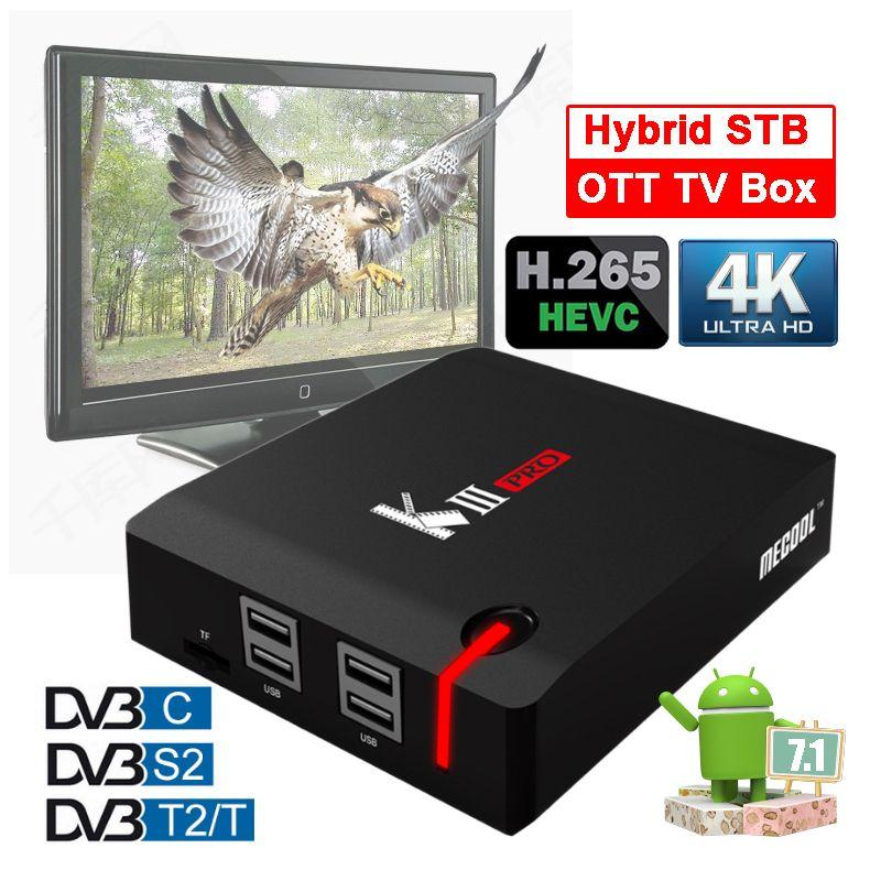 MECOOL KIII Pro 3G 16G Dual Wifi OTT Smart TV Box Amlogic S912 Octa-core Set Top Boxes DVB S S2 T T2 C Combo 4K HD Hybrid STB