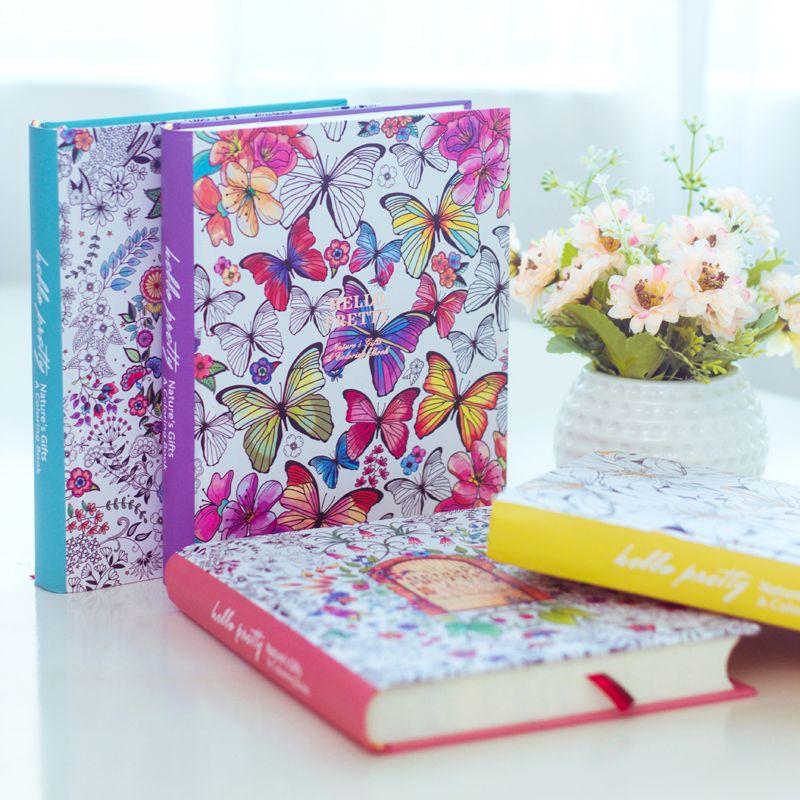 2018 Kawaii милые корейские с цветочным принтом книга красочная цветок линия Тетрадь в твердой обложке личного дневника молочные Sketchbook для Обув...