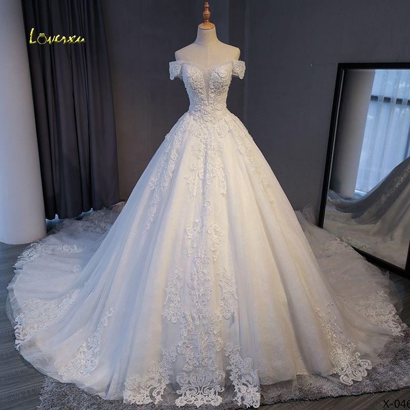 Loverxu Wunderschöne Appliques Spitze Kapelle Zug A-Line Hochzeit Kleid 2019 Luxus Perlen Boot-ausschnitt Sexy Brautkleid Vestido de Noiva