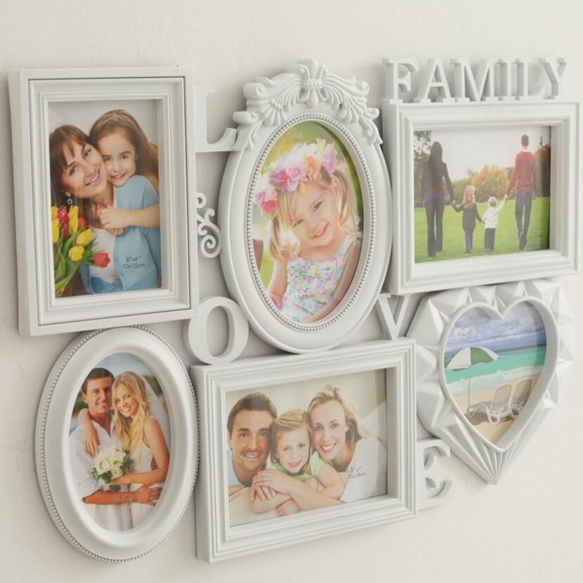 6 pc/lot 6 pouce 7 pouce exquis romantique pur Européenne combinaison Siamois tenture famille créative cadre photo SY29D5