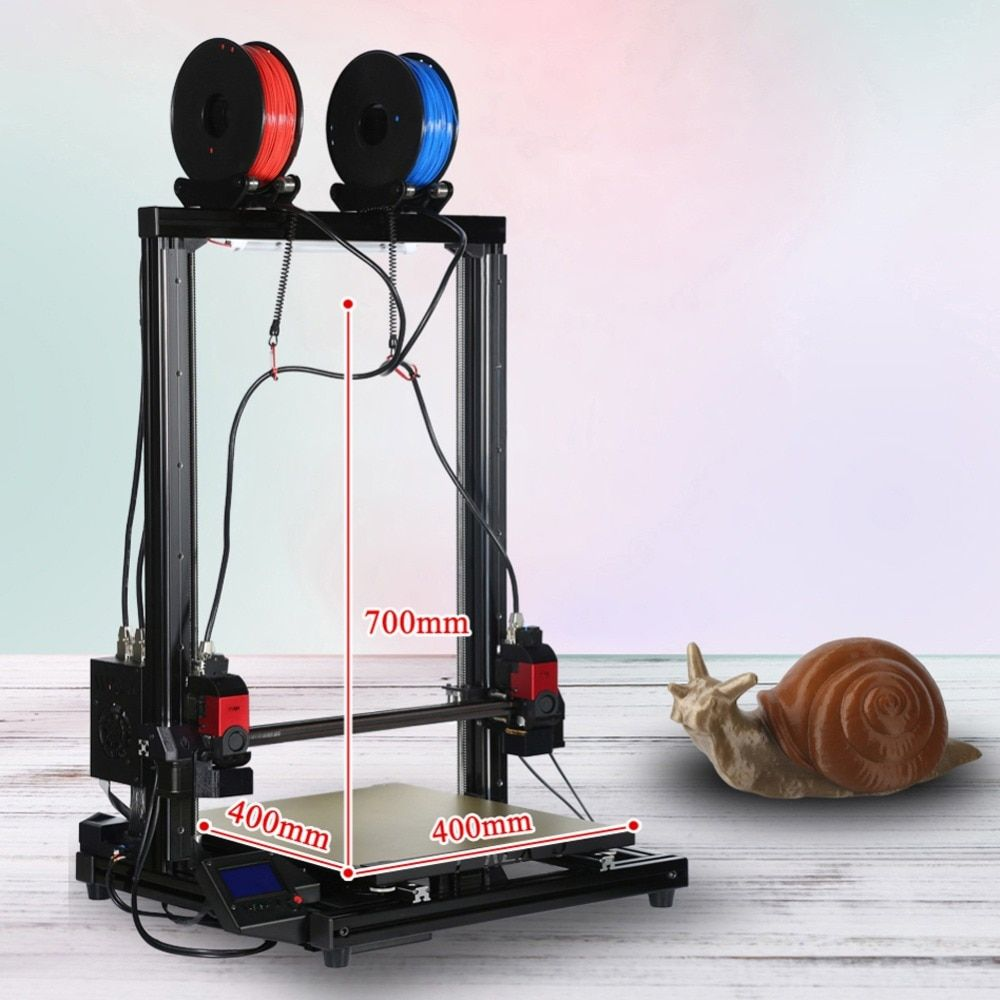 VIVEDINO 3d printer with 1kg filament independent dual extruder pulley version huge size of 400*400*700 printer