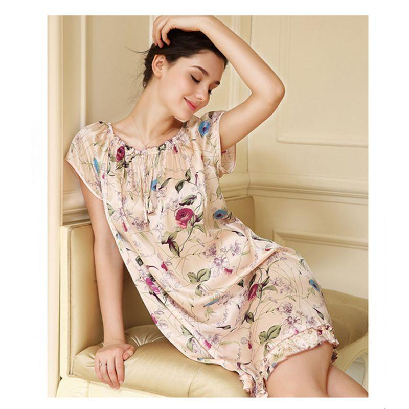 Livraison gratuite 100% Pure mûrier Floral soie chemise de nuit pyjamas de mode pyjama doux été robe multicolore taille libre