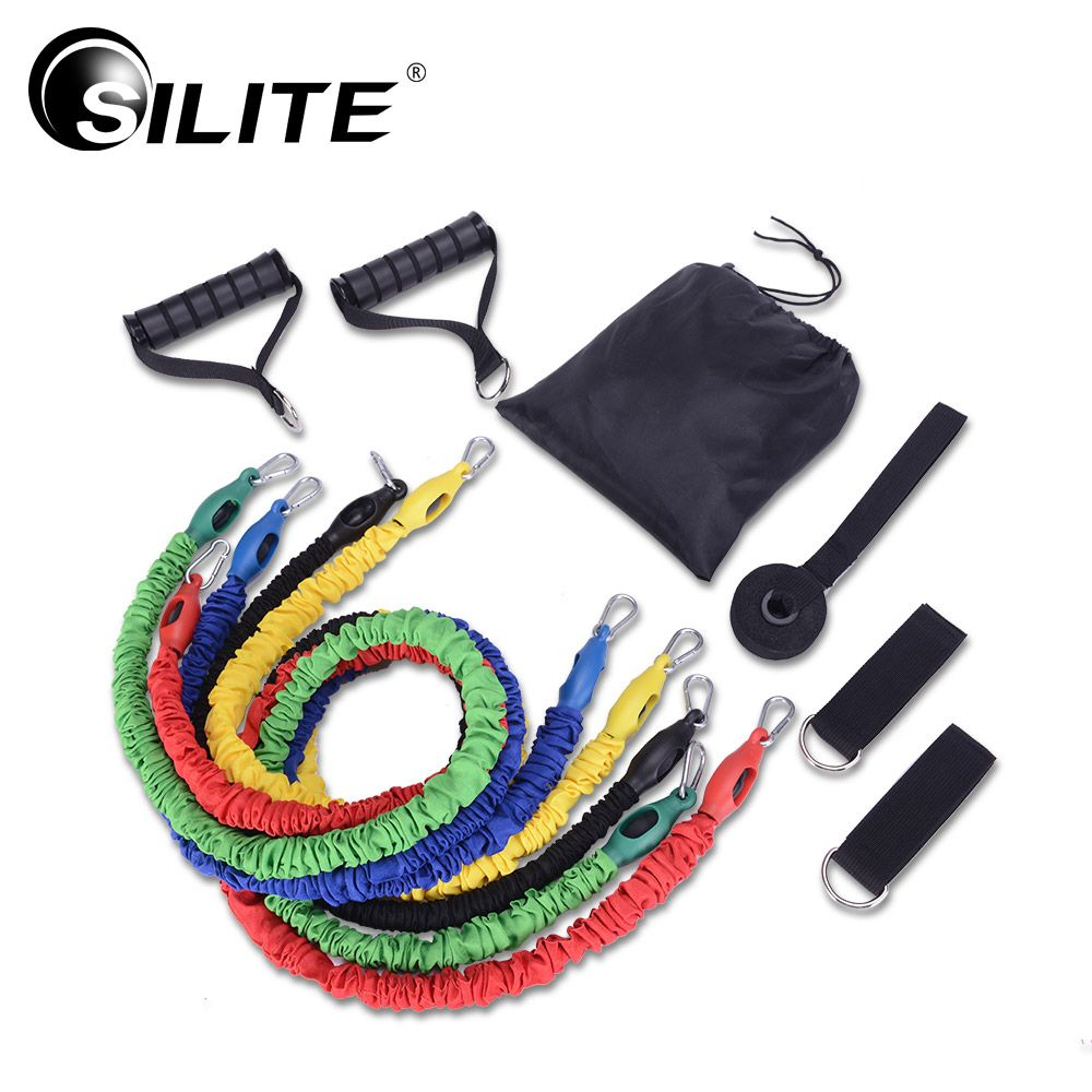 SILITE Widerstand Bands 11 teile/satz Tuch Abdeckung Stoff Fitnessgeräte Zugseil Workout Crossfit Latex Pilates Training Gummi