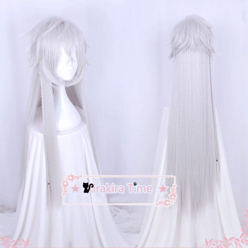 Majordome noir kuroshisuji sous preneur croque-mort 110 cm de Long couleur argent résistant à la chaleur cheveux Cosplay Costume perruque + casquette de perruque gratuite
