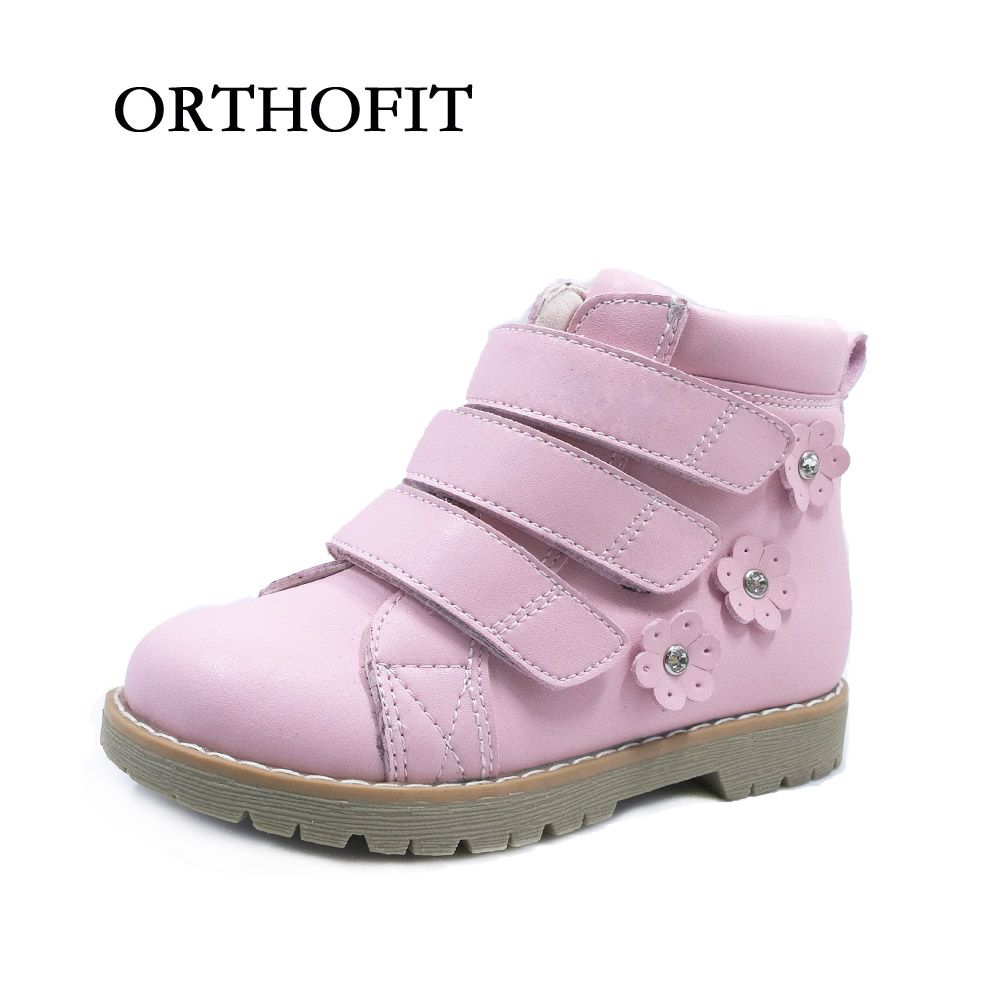 Lovely Pink Flower Kids Genuine Leather Girls Orthopedic Shoes For Spring And Autumn
