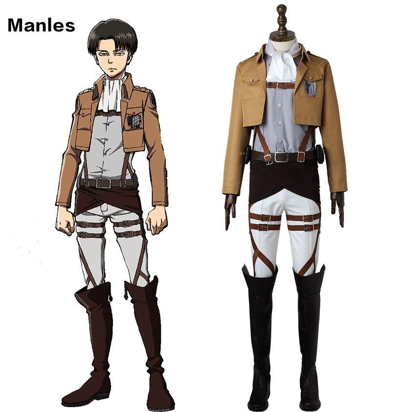 Attack on Titan Cosplay Levi Rivaille Rival Ackerman Costume Shingeki no Kyojin Survey Corps Uniform Adult Men Halloween Boots