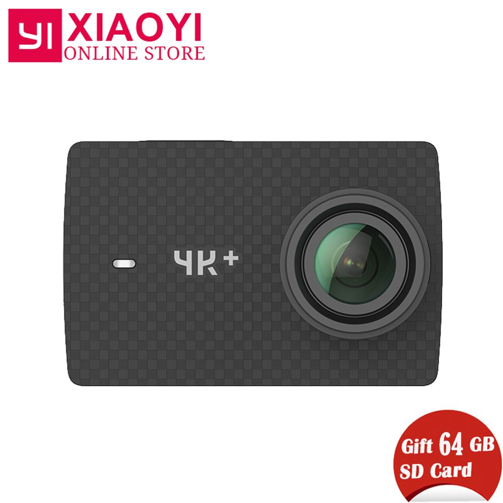Free Gift 64G SD Card Xiaomi YI 4K Plus Action Camera Ambarella H2 4K/60fps 12MP 155 Degree 2.19