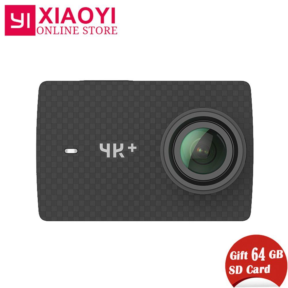 Freies Geschenk 64g SD Karte Xiaomi YI 4 karat Plus Action Kamera Ambarella H2 4 karat/60fps 12MP 155 grad 2,19