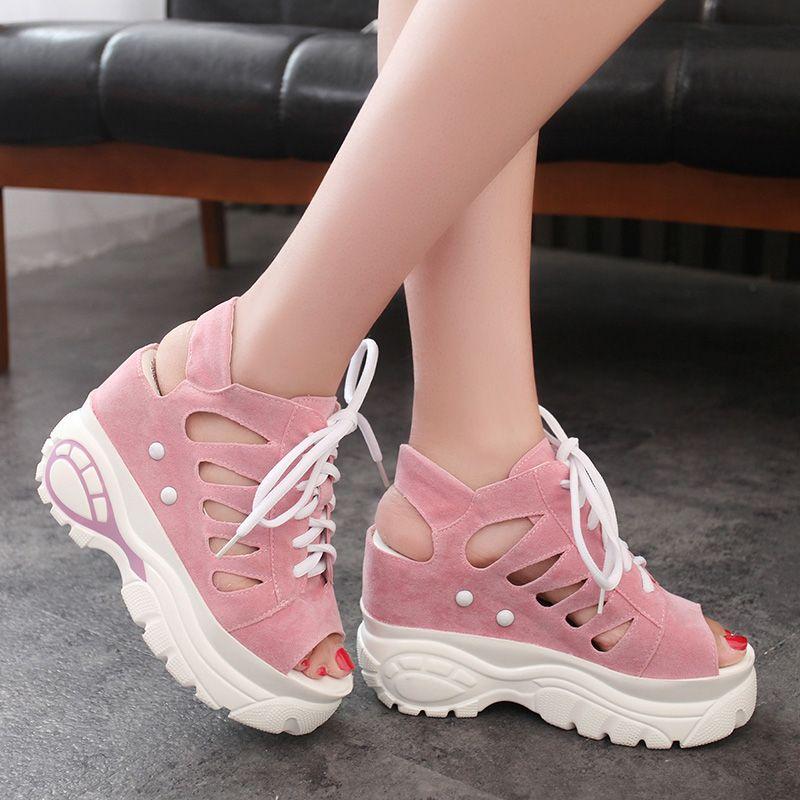 Sandales surélevées pour femmes avec plate-forme étanche chaussures d'été pour femmes chaussures décontractées Wisp de chaussures à bouche de poisson perméables à l'air