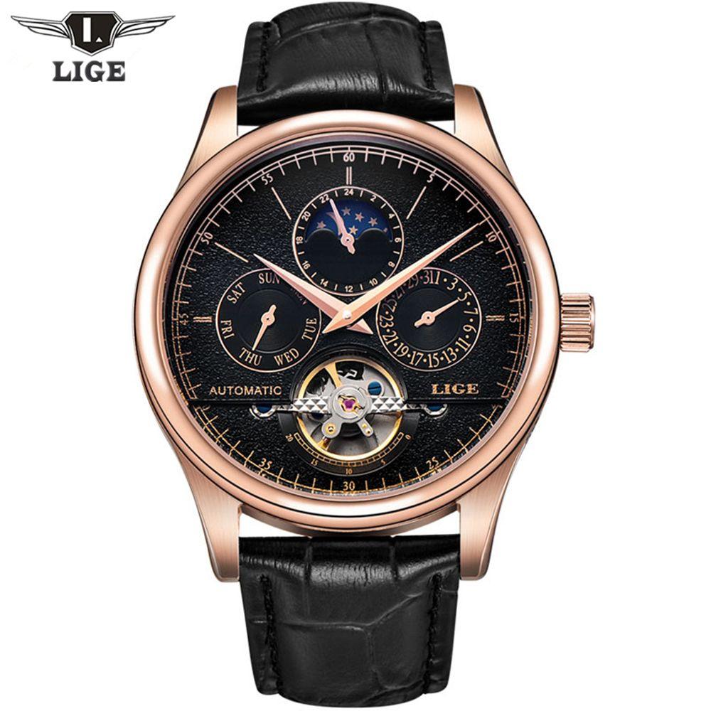 2017 Casual Männer Uhren Luxus Top-marke LIGE Sport Uhr Leder Gold Uhr Männer Tourbillon Automatische Armbanduhr Mit Mondphase