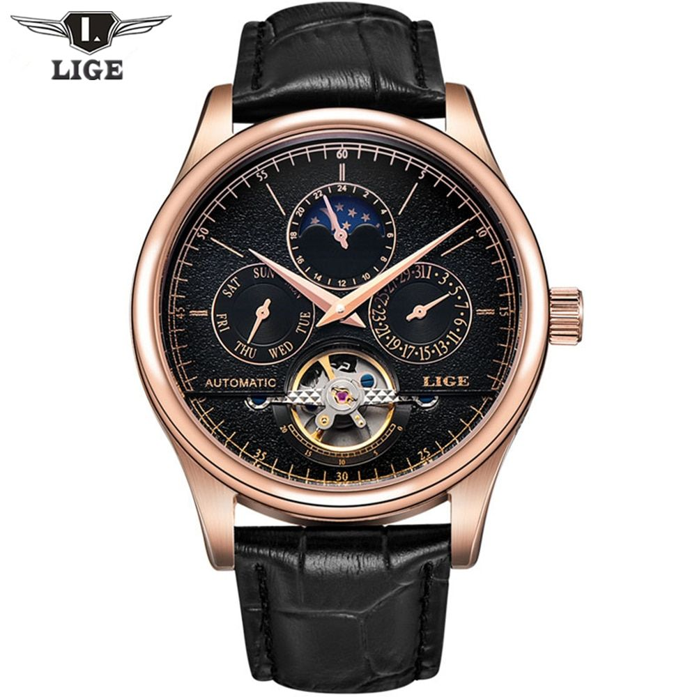 2017 Casual Men Watches Luxury Top Brand LIGE Sport Watch Leather Gold Clock Men Tourbillon Automatic Wristwatch With Moon Phase