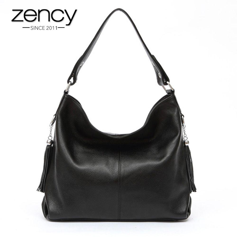2018 New Fashion Soft Real Genuine Leather Tassel Women Handbag <font><b>Elegant</b></font> Ladies Hobo Shoulder Bag Messenger Purse Satchel White