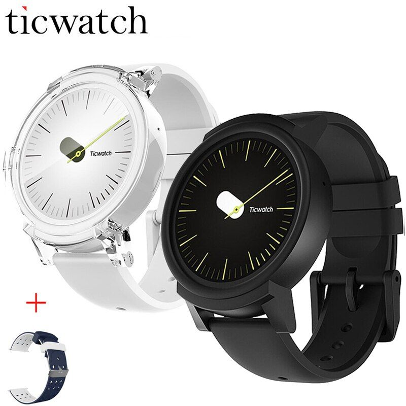 Original Ticwatch E Expres Smart Uhr Android OS Wear MT2601 Dual Core Bluetooth 4,1 WIFI GPS Smartwatch Telefon + Ein Freie Band