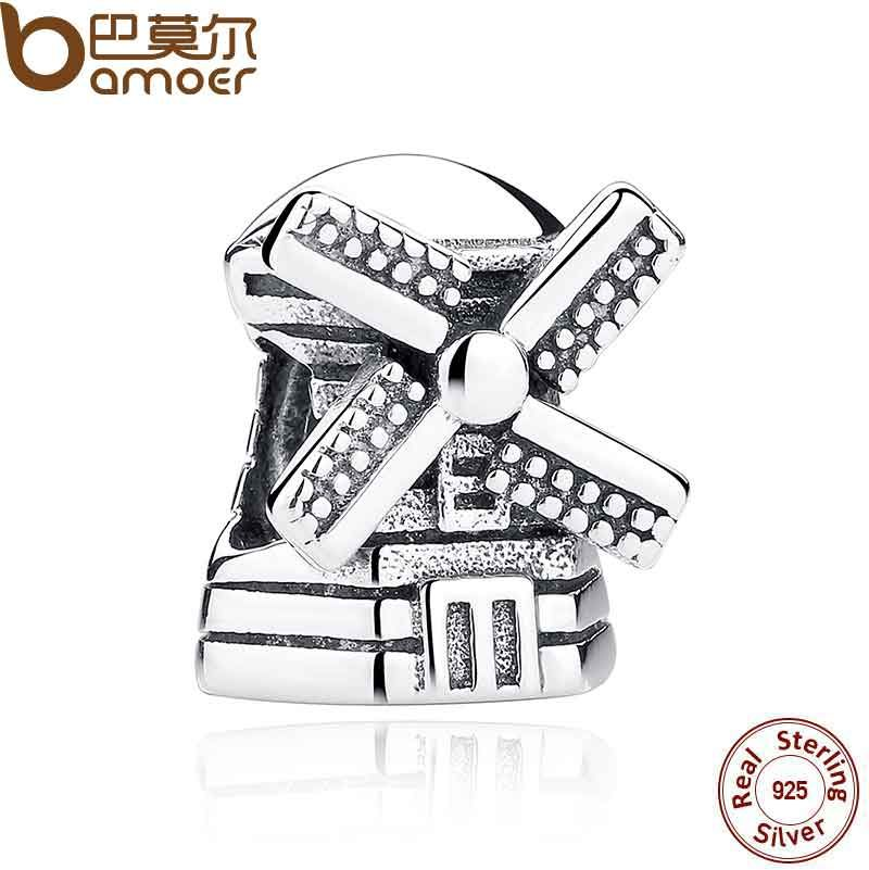 BAMOER Fashion Real 925 Sterling Silver Windmill Pendants Charms fit Bracelets Necklace Engagement Accessories PAS261