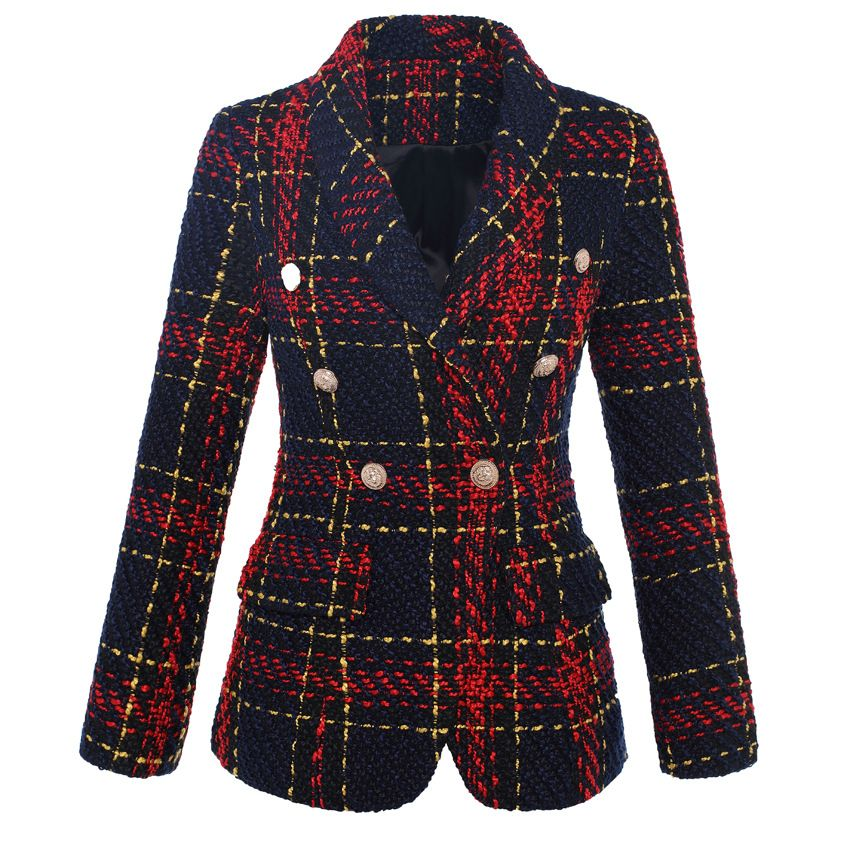 HIGH QUALITY New Stylish 2018 Designer Blazer Women's Double Breasted Lion Metal Buttons Plaid Tweed Wool Blazer Outer Coat