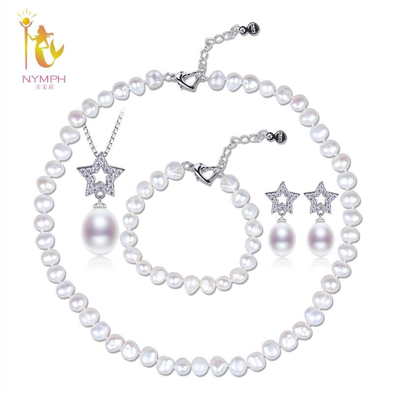 [NYMPH]Wedding Pearl Jewlery Sets Natural Freshwater Pearl Necklace Bracelet Pendant Earrings 4 Piece Party Women Gift T248]
