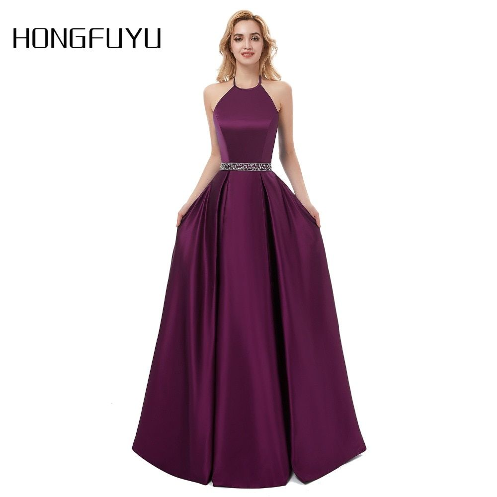 Sexy Prom Dresses 2018 Halter Backless Beads Crystal Party Gowns Sleeveless Cheap Party Dress vestido de festa longo Real Photos