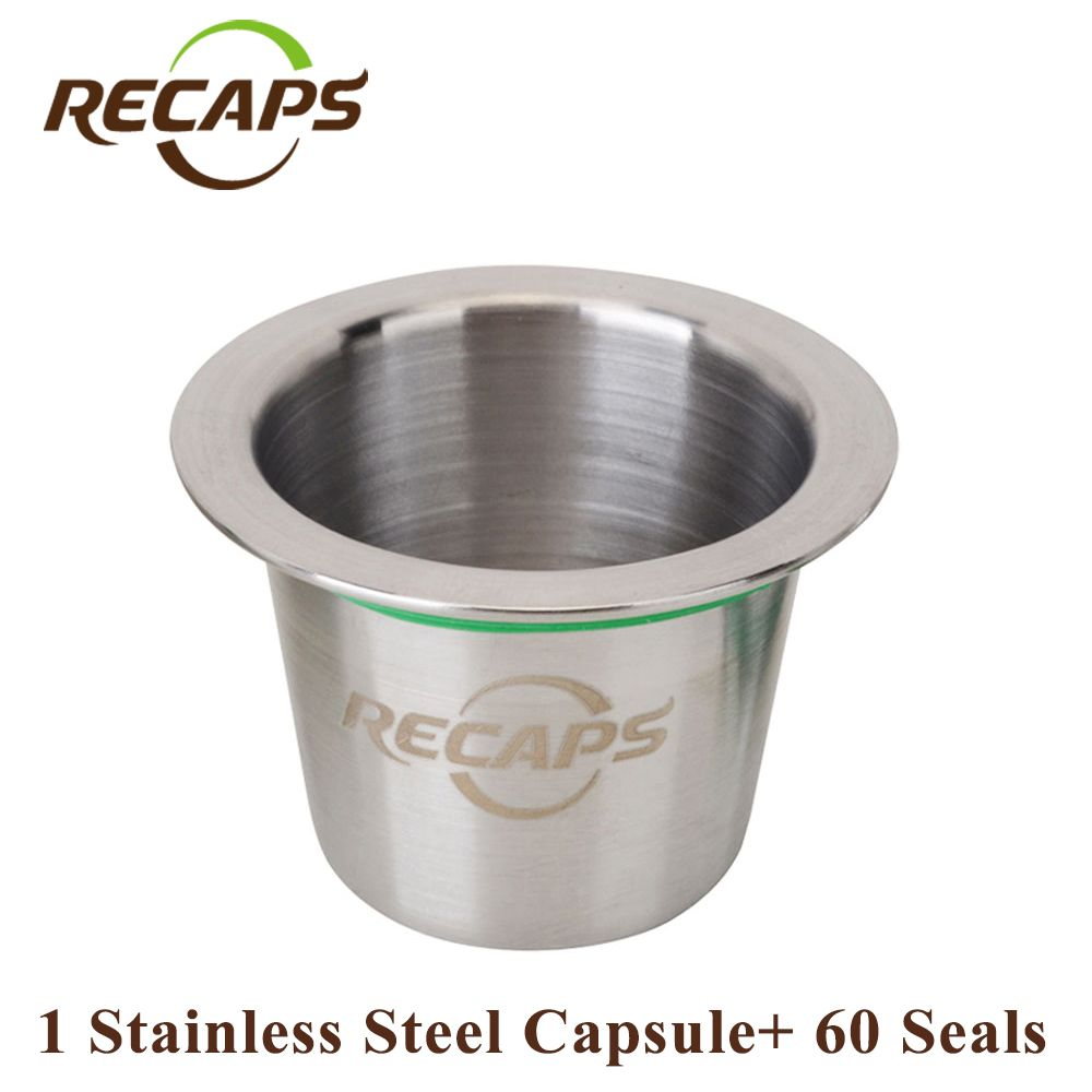 Cápsulas de Nespresso (1 pod 60 seals) Recargable de Acero Inoxidable Relleno de Café Reutilizable cápsula nespresso capsulas compatibles