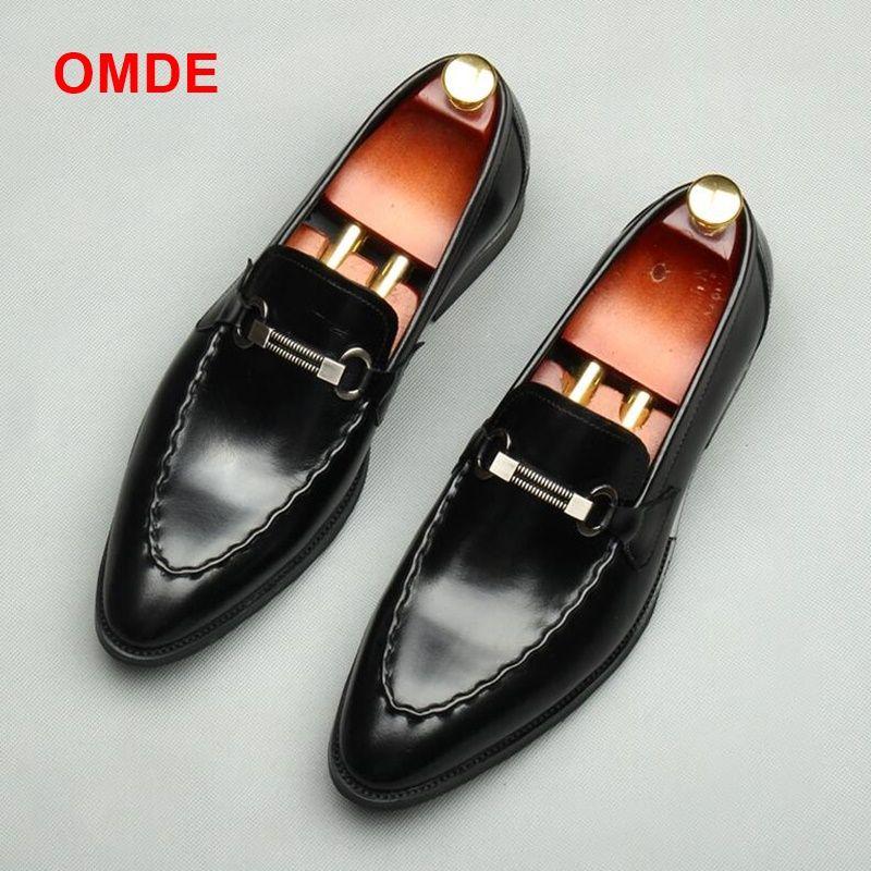 OMDE Echtem Leder Loafer Luxus Slip Auf Formale Schuhe Männer Hochzeit Schuhe Handmade Business Büro Schuhe männer Wohnungen