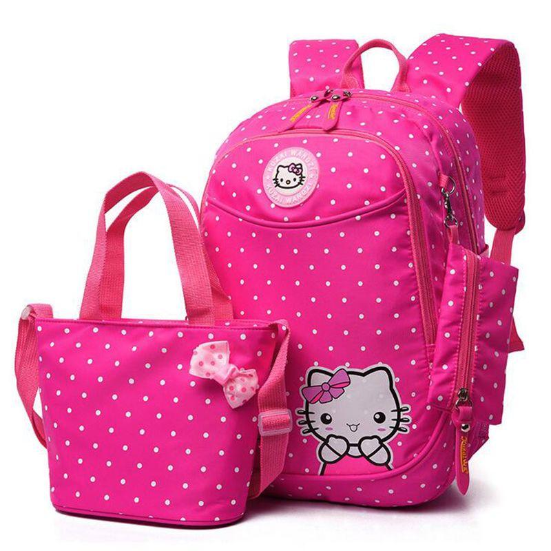 Рисунок «Hello Kitty» девушки Школьные ранцы мультфильм шаблон малыш рюкзак детей школьного рюкзака девушка мешок