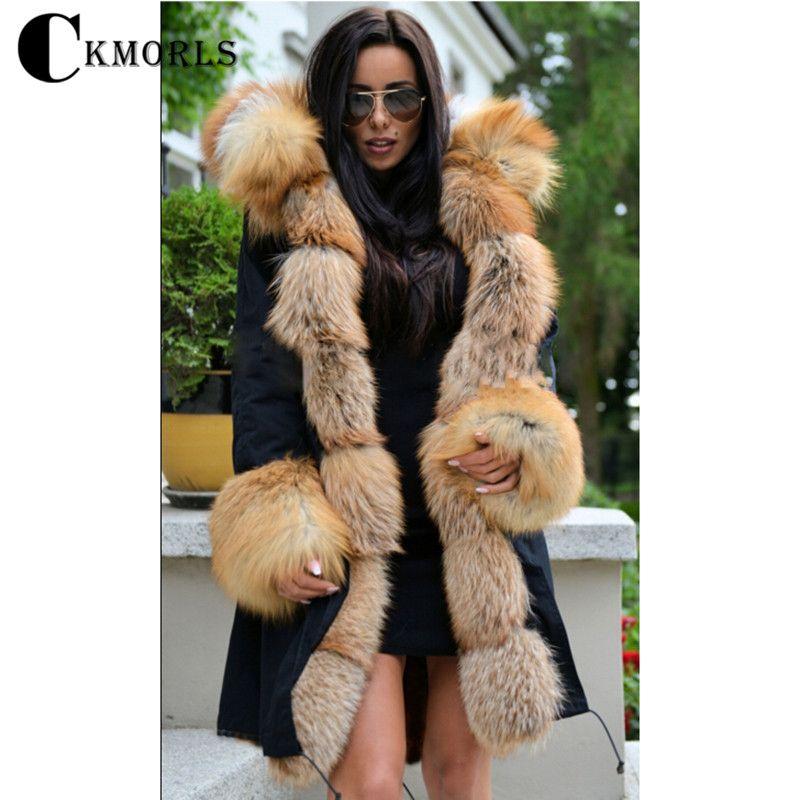 CKMORLS 2018 Neue Winter Parka Kleidung Frauen Warme Mantel Mit Pelz Kragen Casual Dicke Jacke Plus Größe Natürliche Fuchs Pelz schwarz Parkas