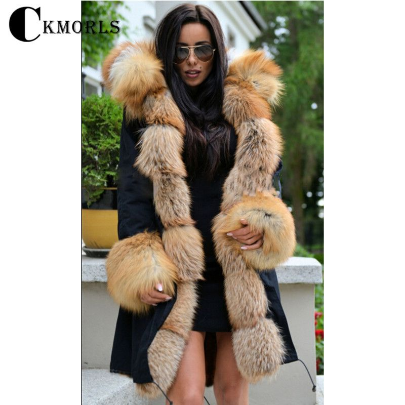CKMORLS 2018 New Winter Parka Clothes Women Warm Coat With Fur Collar Casual Thick Jacket Plus Size Natural Fox Fur Black Parkas